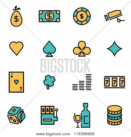 Vector Line Casino Icon Set