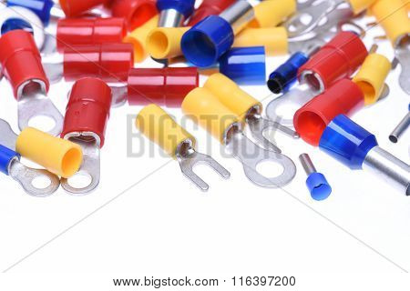 Crimp terminals isolated on the white background