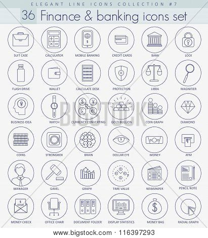 Vector finance outline icon set. Elegant thin line style design