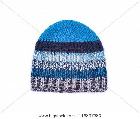 Handmade Knitted Wool Hat Isolated On White Background