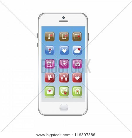 Vector of white Smart phones. Valentine day love theme with hearts.