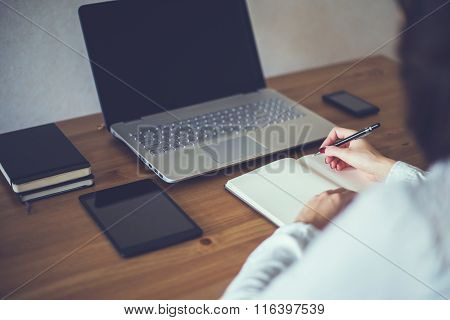 businesswoman with laptop and diary in office concept freelance work at home.