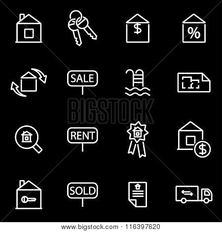 Vector Line Real Estate Icon Set