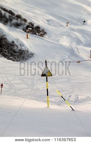 Ski Slope At Evening After Snowfall