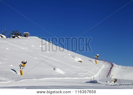 Ski Slope With Snowmaking At Sun Day