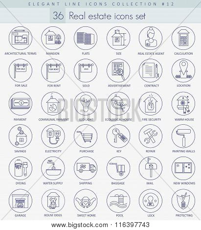 Vector real estate outline icon set. Elegant thin line style design