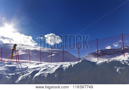Ski Resort In Sunny Day After Snowfall