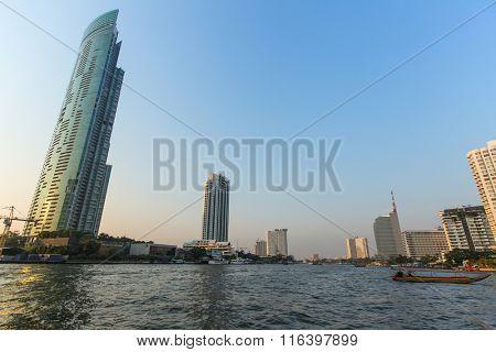 View of Bangkok from Chao Phraya river. Thailand.