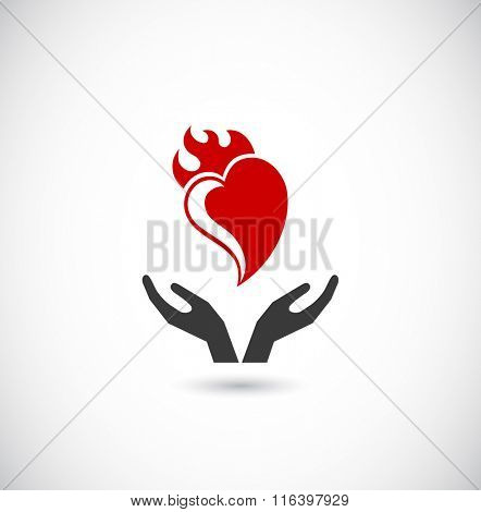 hands support heart with flame - web icon