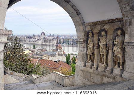 View of the Parliament building in Budapest and the Fisherman's Bastion stairs
