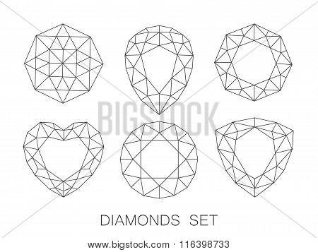Elegant line diamonds icons logo set. Vector illustration