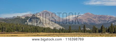 Panorama Of Tuolumne Meadows In Yosemite National Park