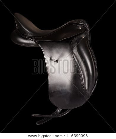 Black Leather Premium Dressage Saddle Isolated