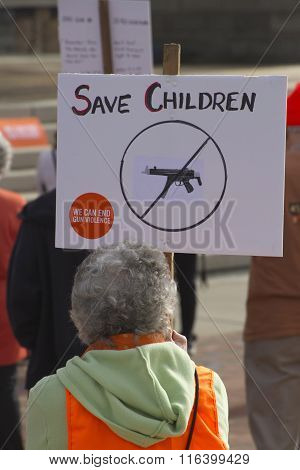 Save Children From Guns Protest Sign