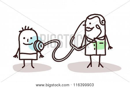 vector cartoon pediatrician with child