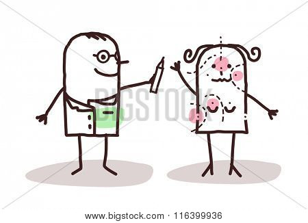 vector cartoon plastic surgeon with patient