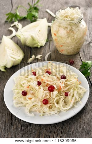 Marinated Cabbage On Country Table