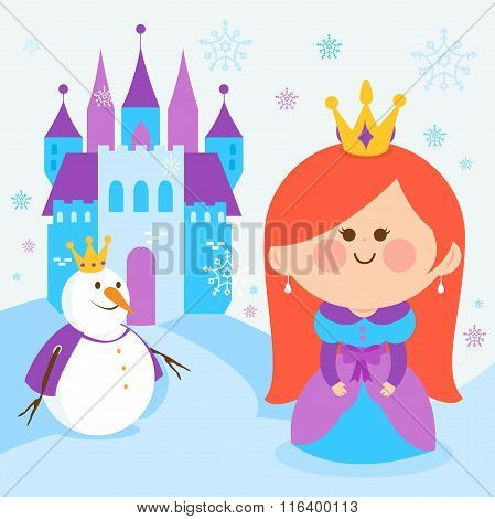 Cute princess in a snowy landscape with a castle and a snowman