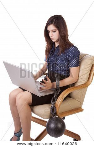 Scowling Woman Ball With Chain Computer
