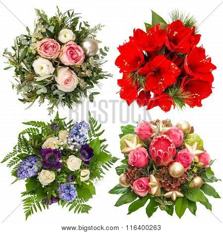 Flowers Bouquet. Roses, Hyacinth, Amaryllis, Protea Isolated