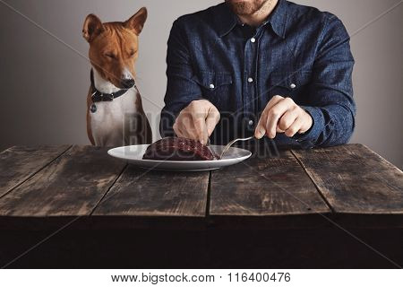 Man Cuts Piece Of Steak For Lovely Dog