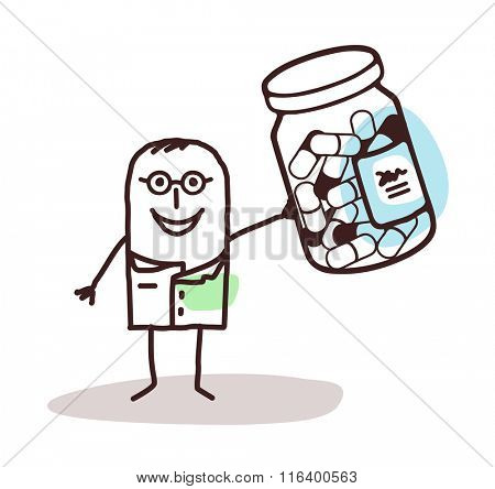vector cartoon doctor with bottle of medicine capsules