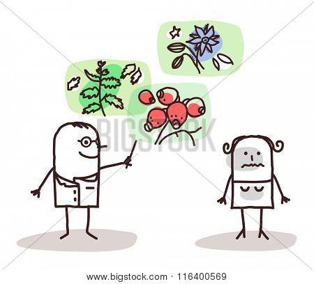 vector cartoon doctor and plants medicine