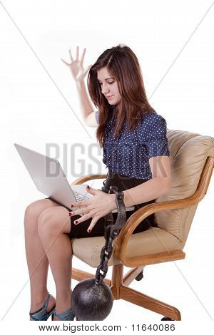 Woman Ball With Chain Computer Frustrated