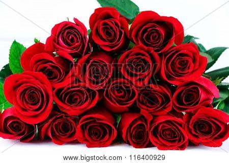 bunch of red rose on white background