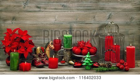 Christmas Decoration Red Candles, Flower Poinsettia, Stars And Baubles