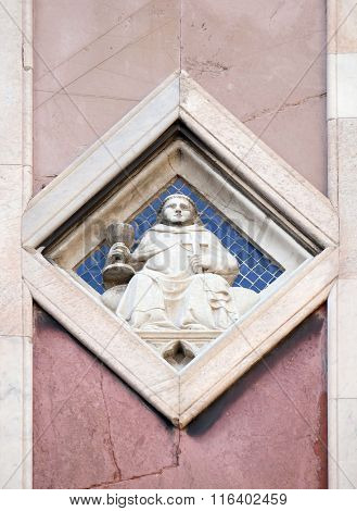 FLORENCE, ITALY - JUNE 05: Jupiter by Collaborator of Andrea Pisano, 1337-41., Relief on Giotto Campanile of Cattedrale di Santa Maria del Fiore, Florence, Italy on June 05, 2015