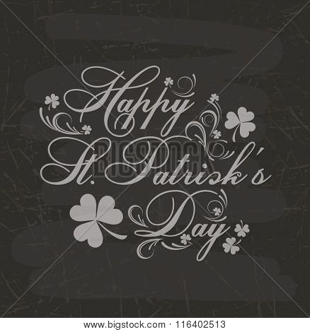 blackboard background with St.Patrick day. Saint Patrick's Day Typographic Background