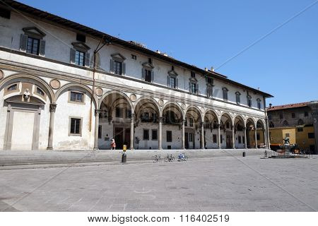 FLORENCE, ITALY - JUNE 05: Foundling Hospital designed by Brunelleschi in Piazza SS.Annunziata, Loggiato Servi di Maria, Firenze (Florence), Unesco World Heritage Site, Tuscany, Italy, on June 05,2015