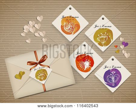 set name tag with cute elements, greeting and wishes for holidays. Element for  scrapbooking