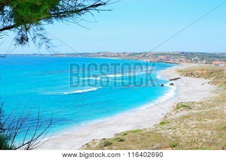 San Giovanni Si Sinis Beach On A Clear Day