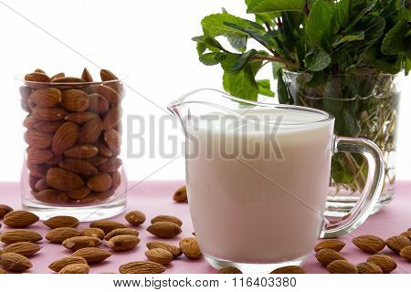 Almond Milk With Almond On A  Table, Lactose Free