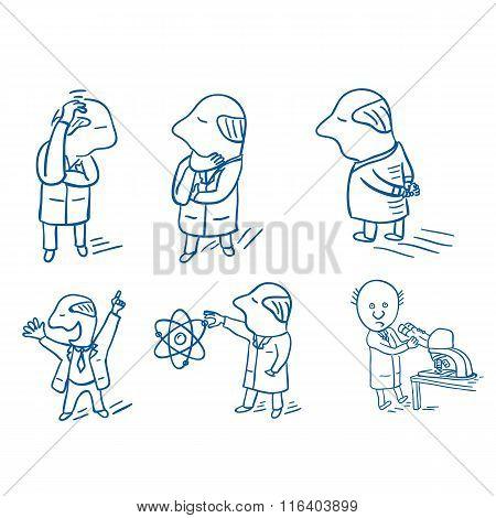 Set of doodle scientists