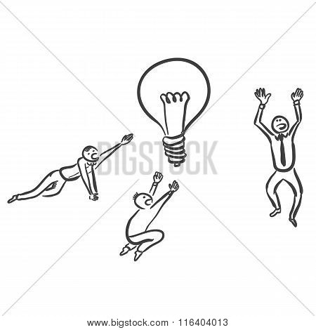 Office workers searching for idea vector sketch