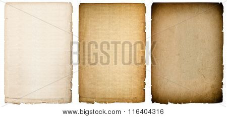 Old paper sheets texture with dark edges. Vintage cardboard background