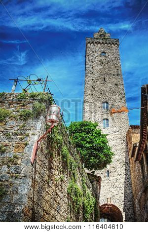 Antique Tower In San Gimignano