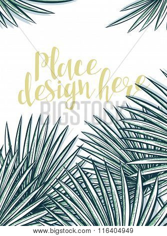 Design background with leaves of palm trees in sketch style