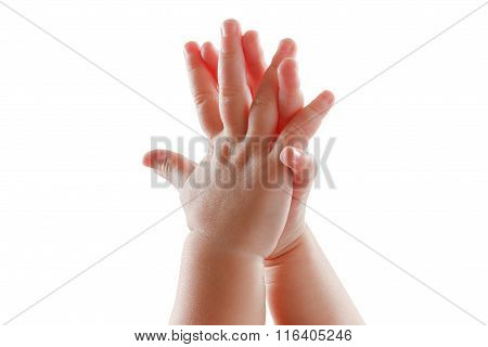 Beautiful Baby Hands Isolated On White Background Applause