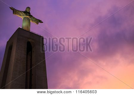Statue Of Christ The King In Lisbon