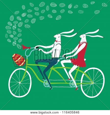 Easter Rabbits Cyclists Illustration