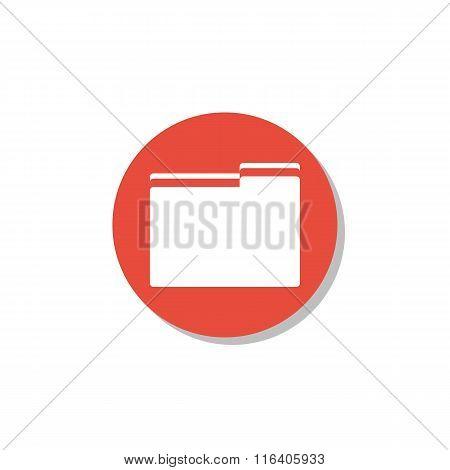 Folder Icon On Red Circle Background