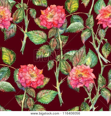 Watercolor Pink Roses Seamless Pattern Texture Background