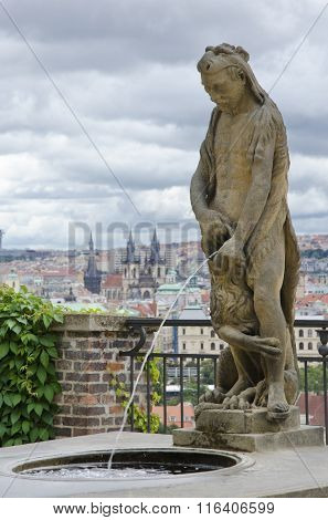 Prague. Fountain Of Hercules. View From Gardens Under Prague Castle  (the Garden On The Bastion)