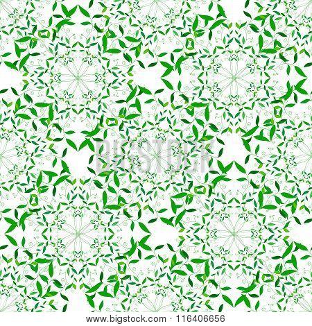Vector Green Floral Spring Mandala Seamless Pattern