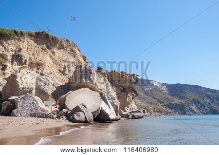 Rock Landslide On The Kalamaki Beach