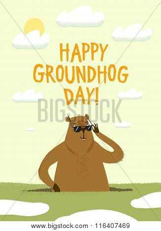 Cartoon Groundhog Day Illustration